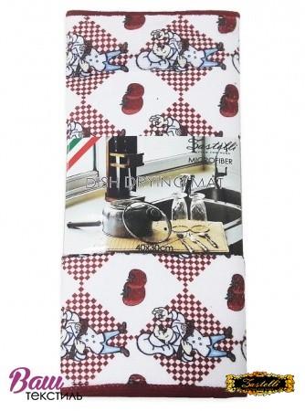 Килимок для сушки посуду ZASTELLI Шеф-кухар мікрофібра фото