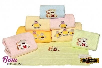 Детское полотенце с вышивкой ZASTELLI Медвежонок махра фото