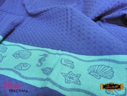 Пляжное полотенце ZASTELLI Ракушки вафельное фото 4
