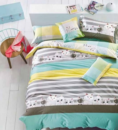 Дизайнерское постельное белье Word of Dream FHX159 Котята Сатин фото 2