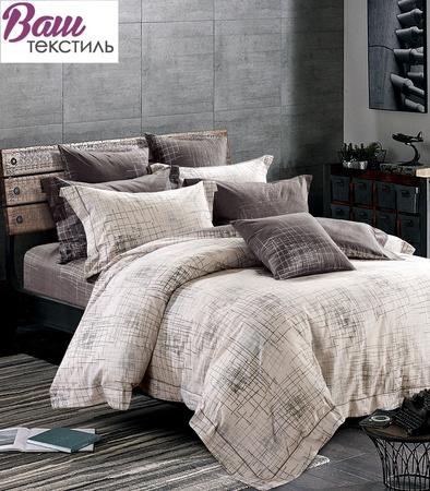 Комплект дизайнерского постельного белья Word of Dream SH9287 Кофе с молоком Сатин фото