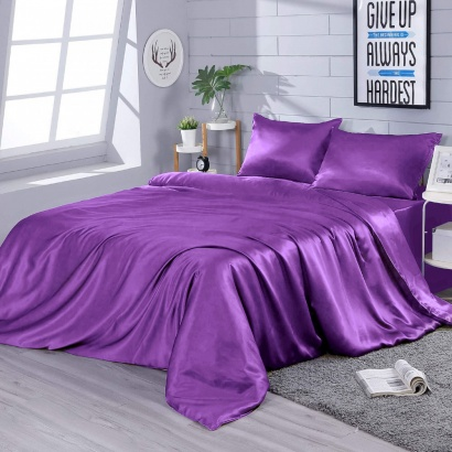 Постельное белье Zastelli Eggplunt шелк темно-фиолетовый фото