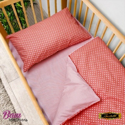 Постельное белье для новорожденных Zastelli 137+139 Розовое в горошек фото