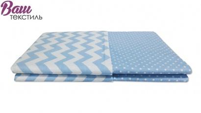 Постільна білизна для новонароджених Zastelli 26+182 Зигзаги на блакитному бязь фото 5