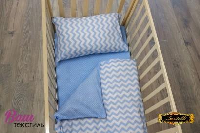 Постільна білизна для новонароджених Zastelli 26+182 Зигзаги на блакитному бязь фото 4