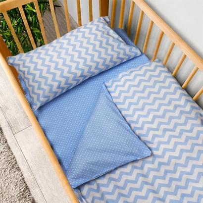 Постільна білизна для новонароджених Zastelli 26+182 Зигзаги на блакитному бязь фото 2