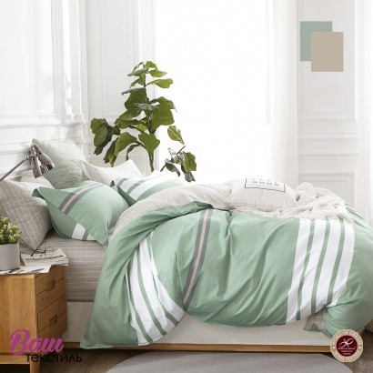 Дизайнерська постільна білизна Word of Dream UME 213 Фiсташковий Премiум сатин фото