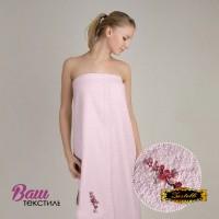 Terry towel sauna robe for women Zastelli with embroidery Sakura Pink фото