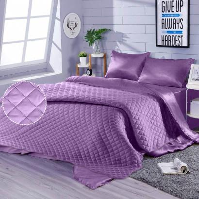 Постельное белье с покрывалом Zastelli Orchid шелк лиловый фото 3