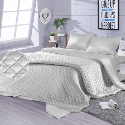 Постільна білизна з покривалом Zastelli Snow шовк бiлий фото 3