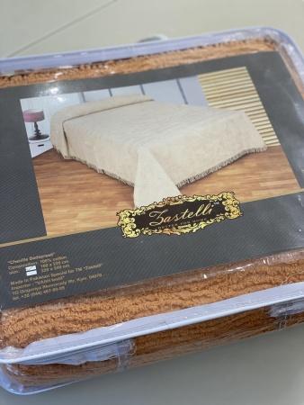 Plaid-bedspread ZASTELLI Shenille cotton Beige фото 2