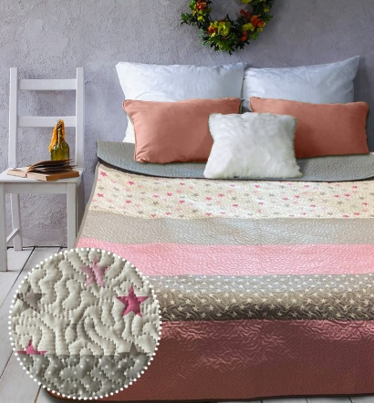 Two-sided Bedspread ZASTELLI Star Dots Pink Calico Brazed фото 2