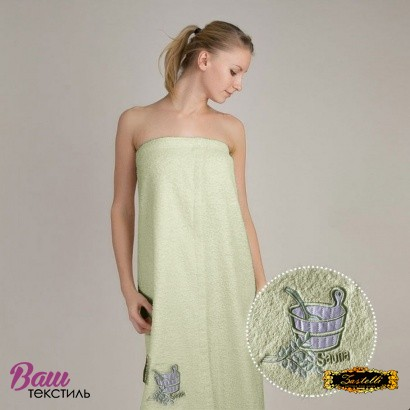 Полотенце для сауны женское сарафан Zastelli махра с вышивкой Кадушка Зеленое фото