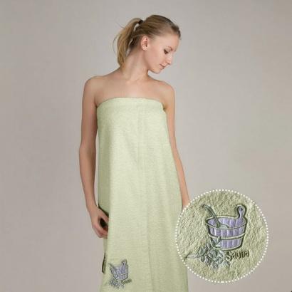 Полотенце для сауны женское сарафан Zastelli махра с вышивкой Кадушка Зеленое фото 2