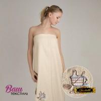 Terry towel sauna robe for women Zastelli with embroidery Kadushka Cream фото