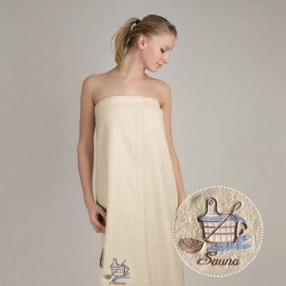 Terry towel sauna robe for women Zastelli with embroidery Kadushka Cream фото 2