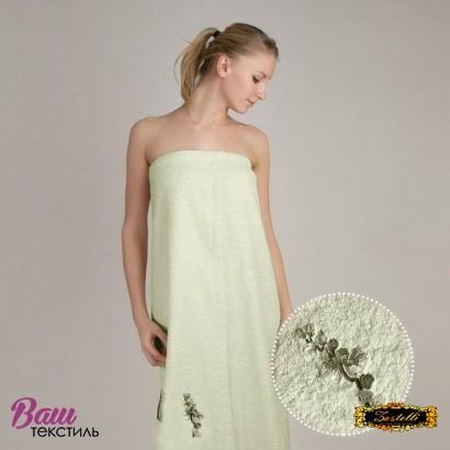Полотенце для сауны женское сарафан Zastelli махра с вышивкой Сакура Зеленое фото