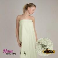 Terry towel sauna robe for women Zastelli with embroidery Sakura Green фото