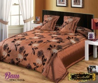 Silk Bed linen set ZASTELLI 7018 chocolate фото