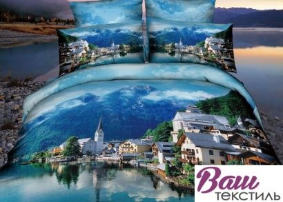 Комплект дизайнерского постельного белья Word of Dream H1590 Город Сатин фото